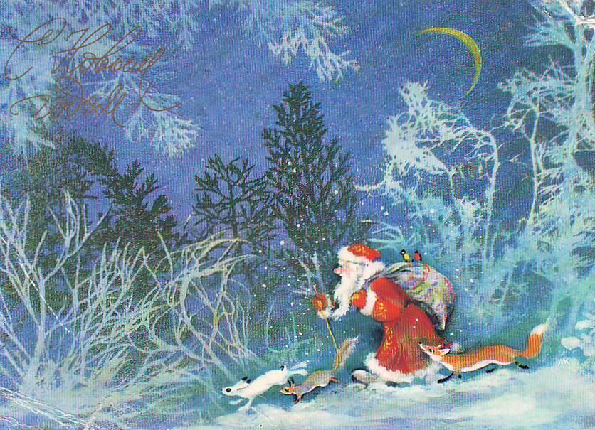 обои дед мороз и зайцы открытка кому угодно будет