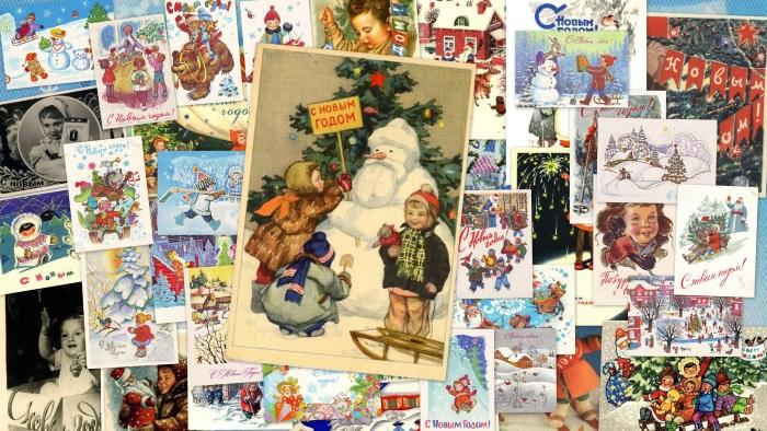 Коллаж из открыток с новым годом, милый картинки трогательные