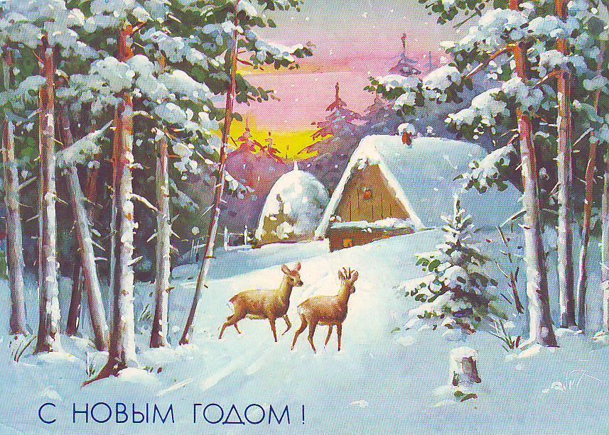 Зимние ретро открытки ссср, девушек полевыми цветами